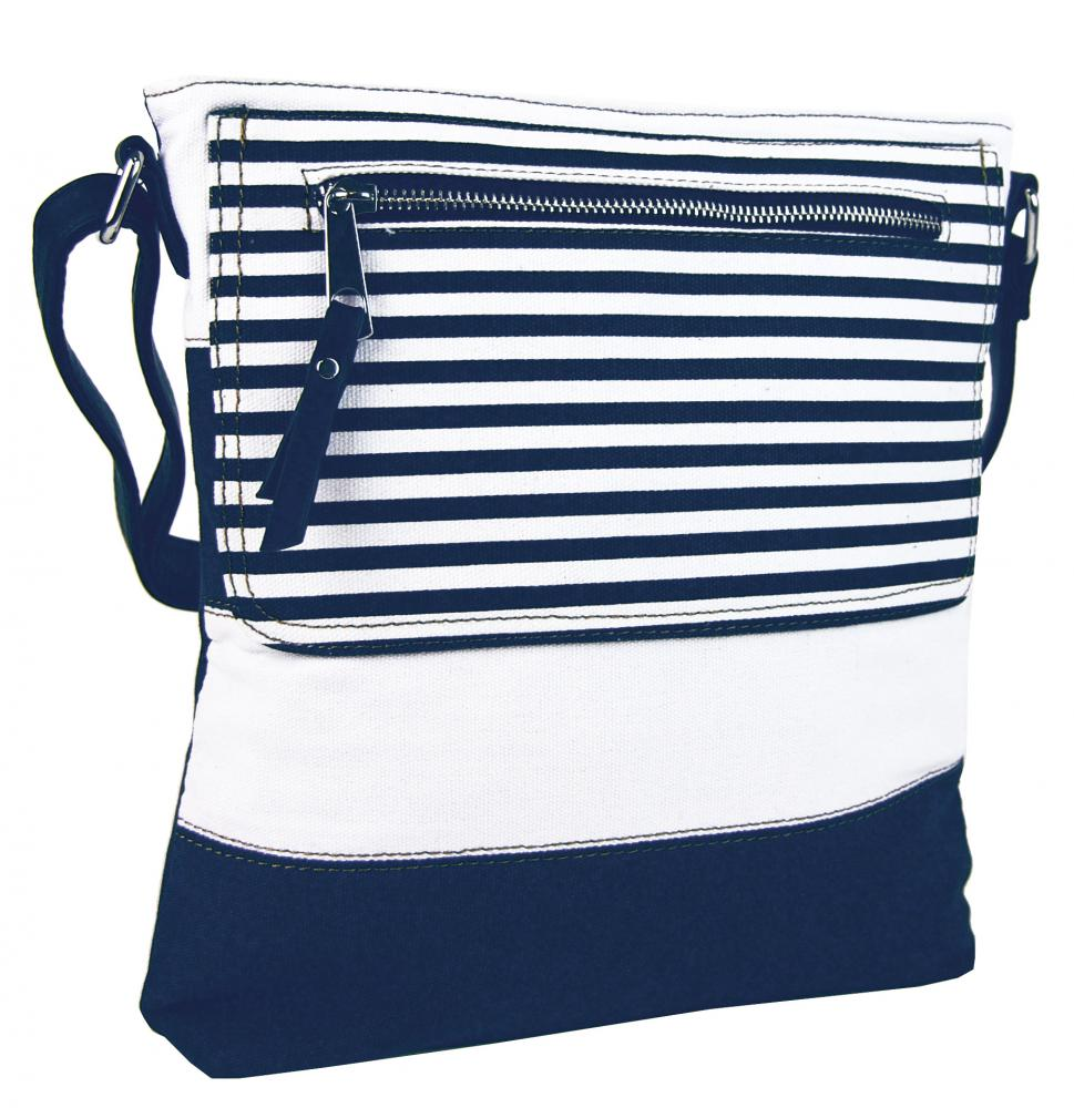 Textilná crossbody dámska kabelka B508 modro-biela
