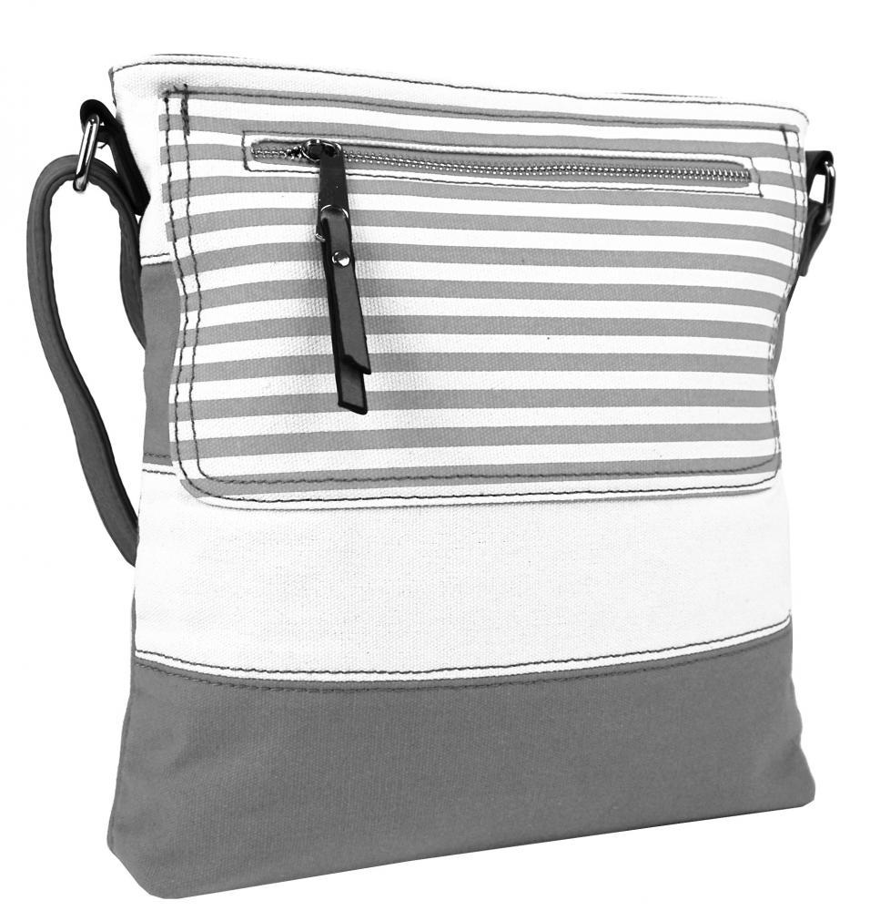 Textilná crossbody dámska kabelka B508 šedo-biela