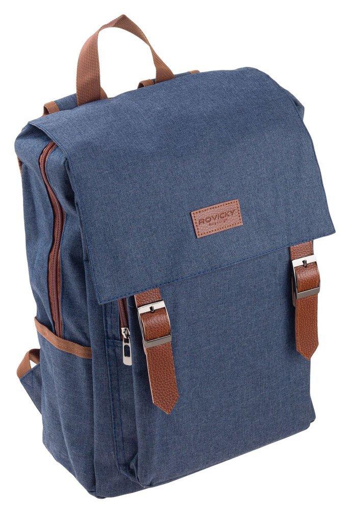 Modrý batoh s klopou pre notebook do 15,6 palca Rovicky