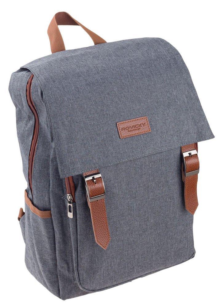 Šedý batoh s klopou pro notebook do 15,6 palce Rovicky