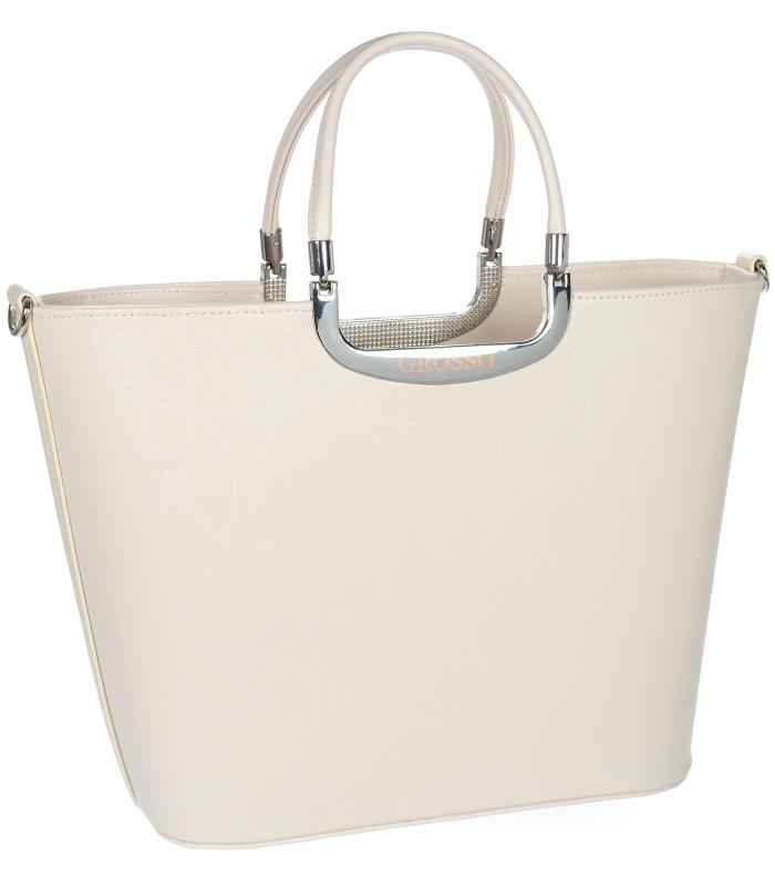 Elegantní světlá béžová matná kabelka S7 GROSSO