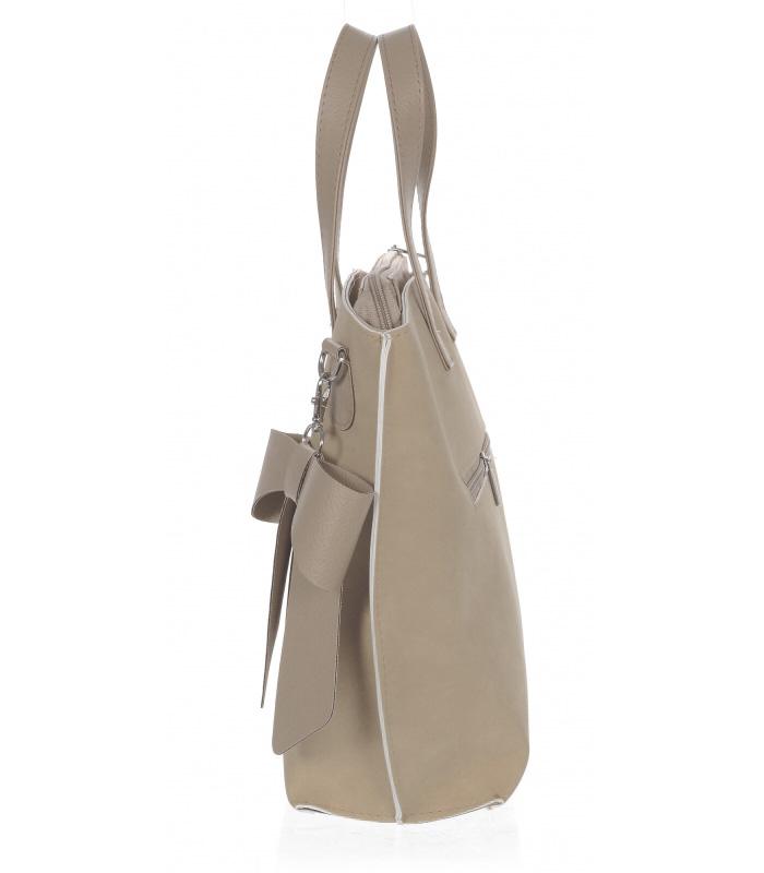 Béžová dámská kabelka s mašlí S739 GROSSO