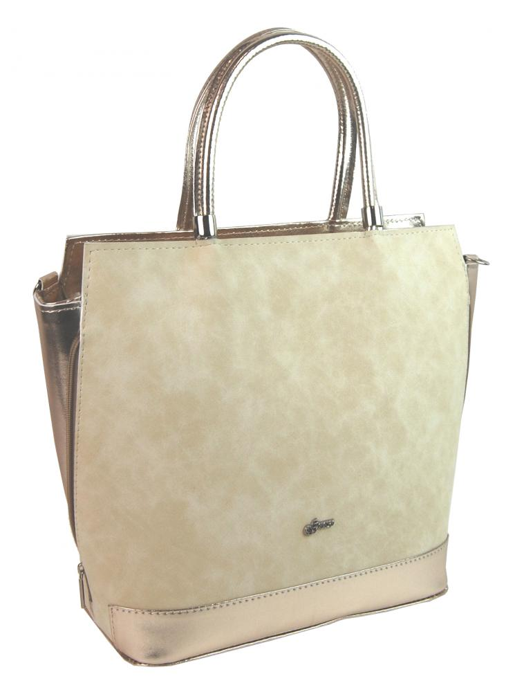 Velká béžovo-zlatá dámská kabelka S751 GROSSO