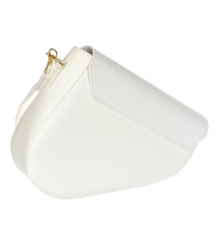 Luxusní bílá crossbody kabelka s kroko vzorem M301 GROSSO