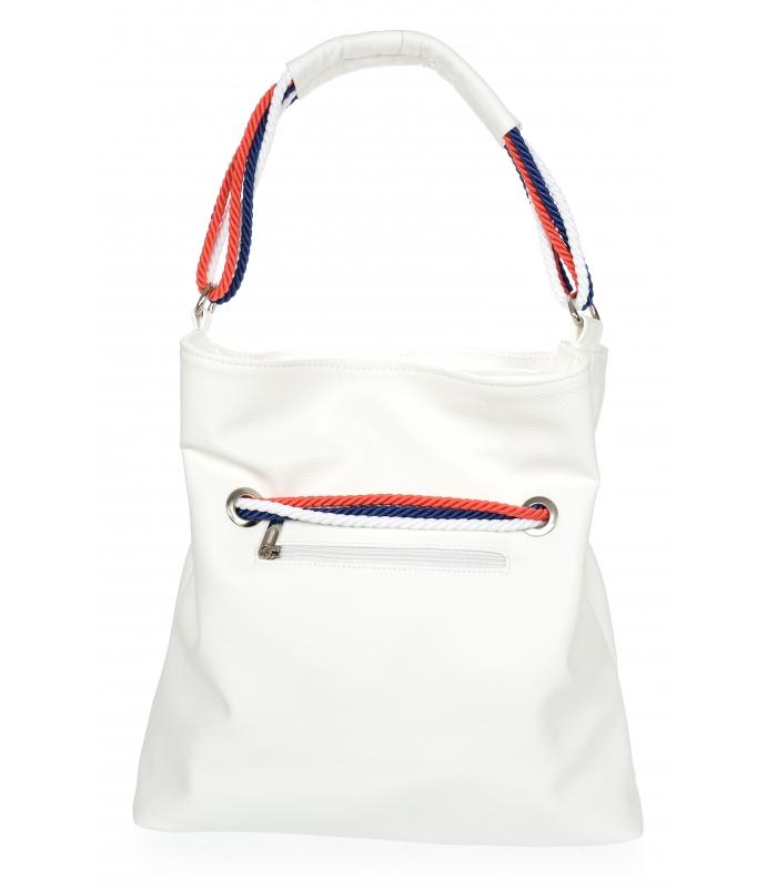 Bílá měkká kabelka přes rameno s lanovými držadly S761 GROSSO