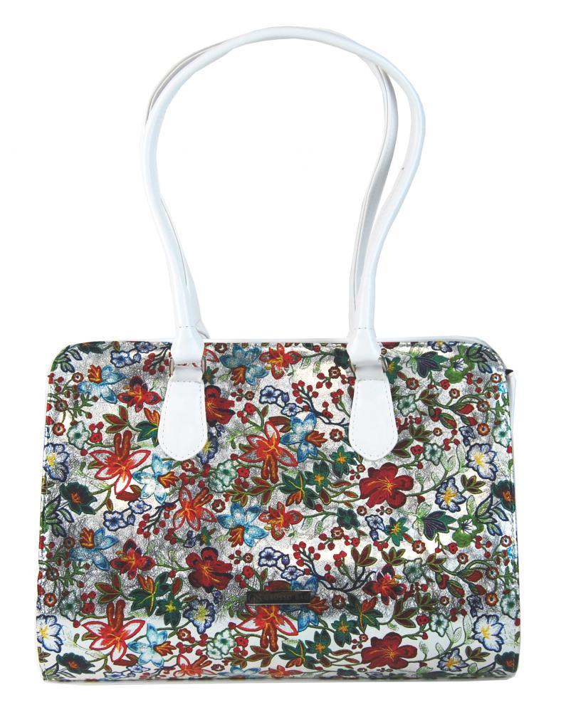 Bílá elegantní kabelka s motivy květů S61 GROSSO