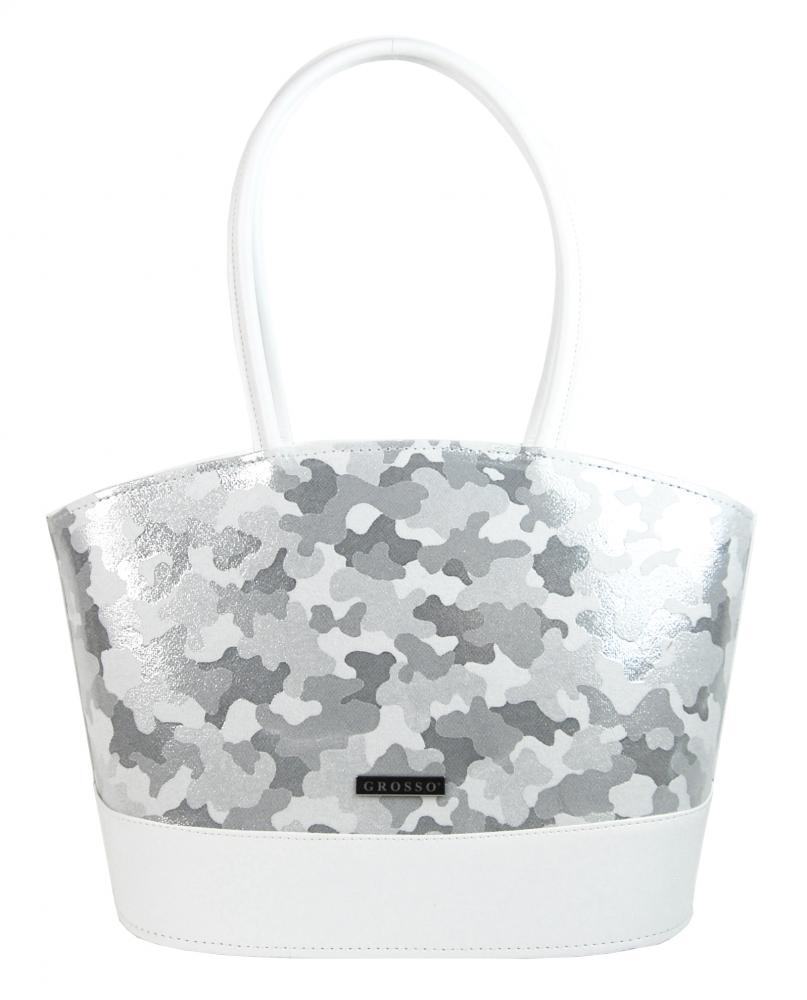 Biela dámska kabelka so striebornou kamuflážou S534 GROSSO