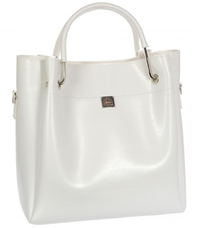Bílá moderní dámská kabelka S728 GROSSO
