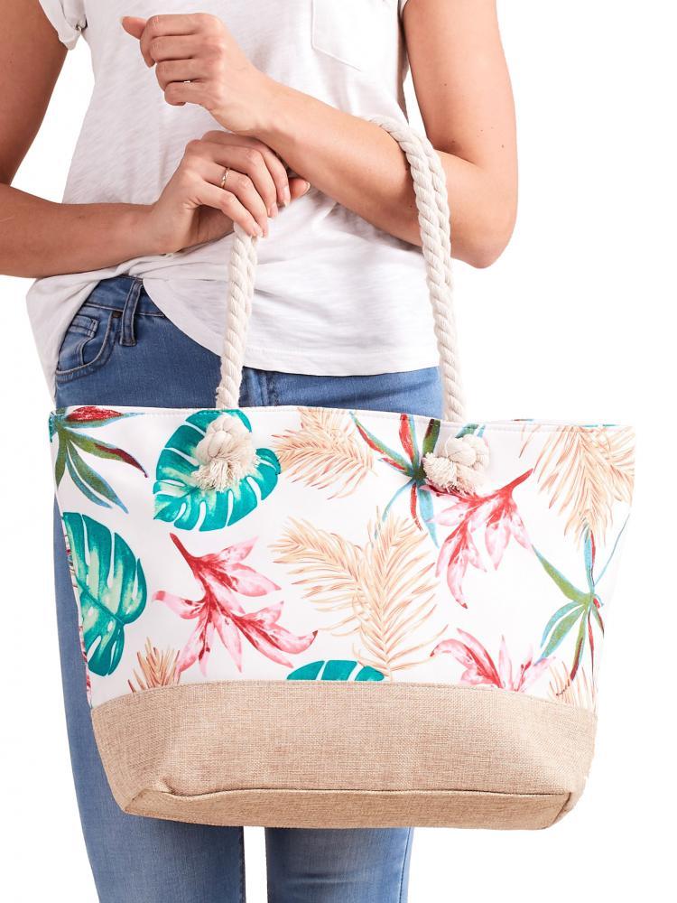 CAVALDI Plážová taška bílá s motivem listů tropických rostlin