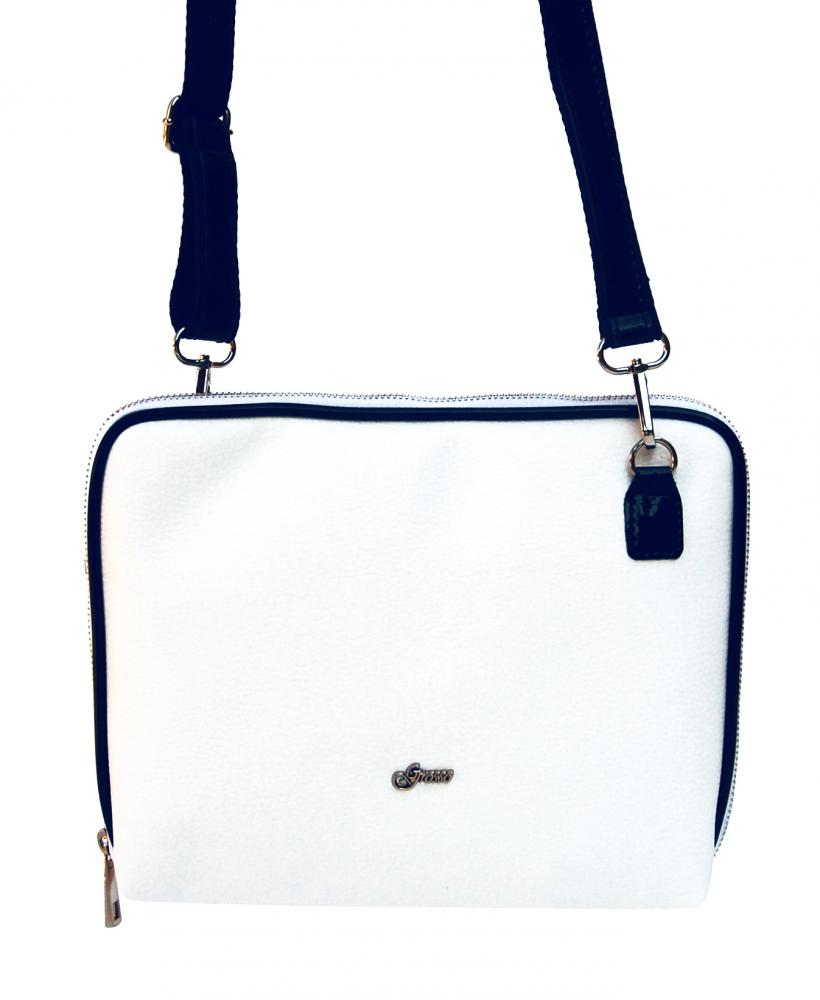 Bílo-modrá dámská crossbody kabelka M295 GROSSO