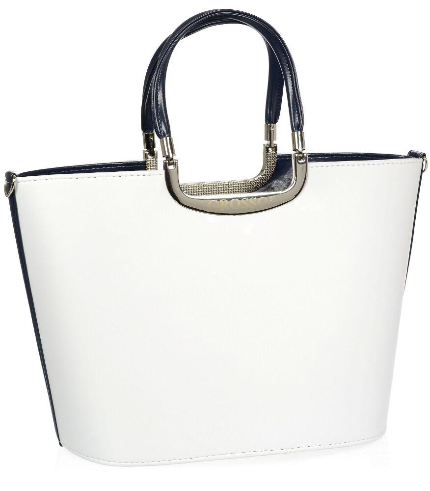Elegantní bílá kabelka s modrým lemem S7 GROSSO