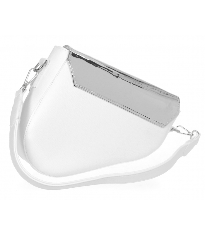 Luxusní bílá crossbody kabelka se stříbrným vrchem M301 GROSSO
