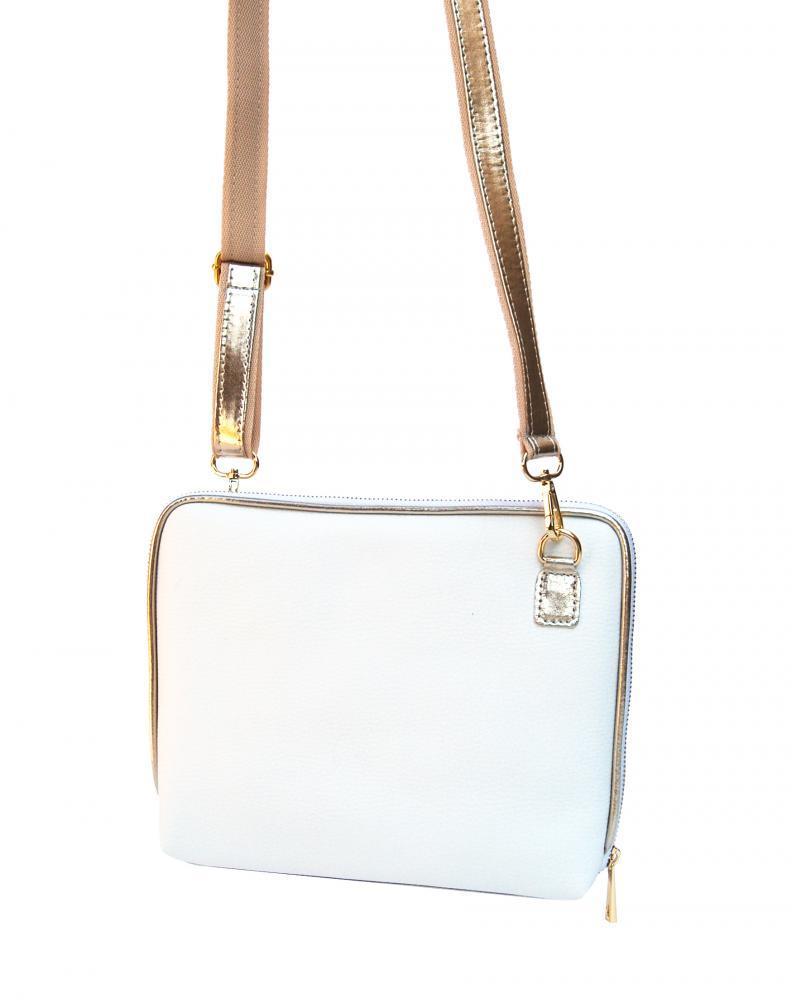 Bílo-zlatá dámská crossbody kabelka M295 GROSSO