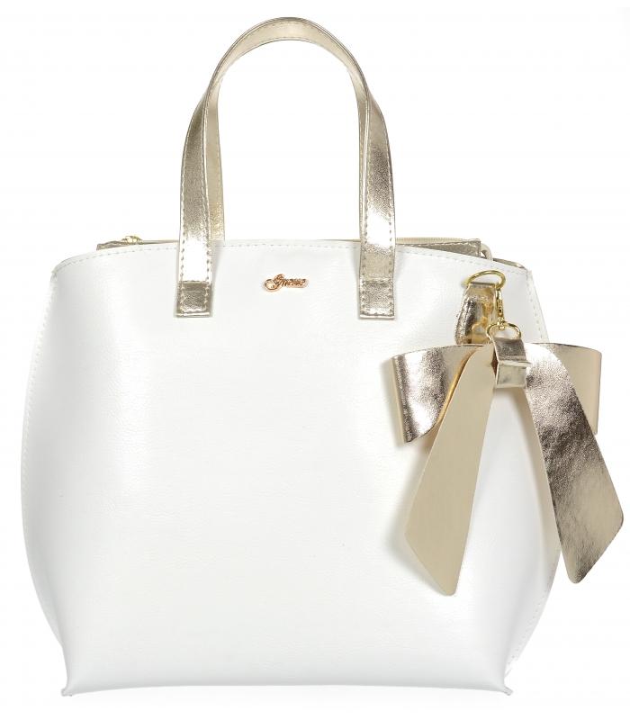 Bílá / zlatá dámská kabelka s mašlí S739 GROSSO