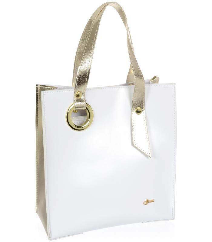 GROSSO Bílo-zlatá matná dámská kabelka S752