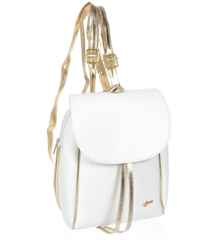Elegantní dámský bílý batoh se zlatým lemem B03 GROSSO