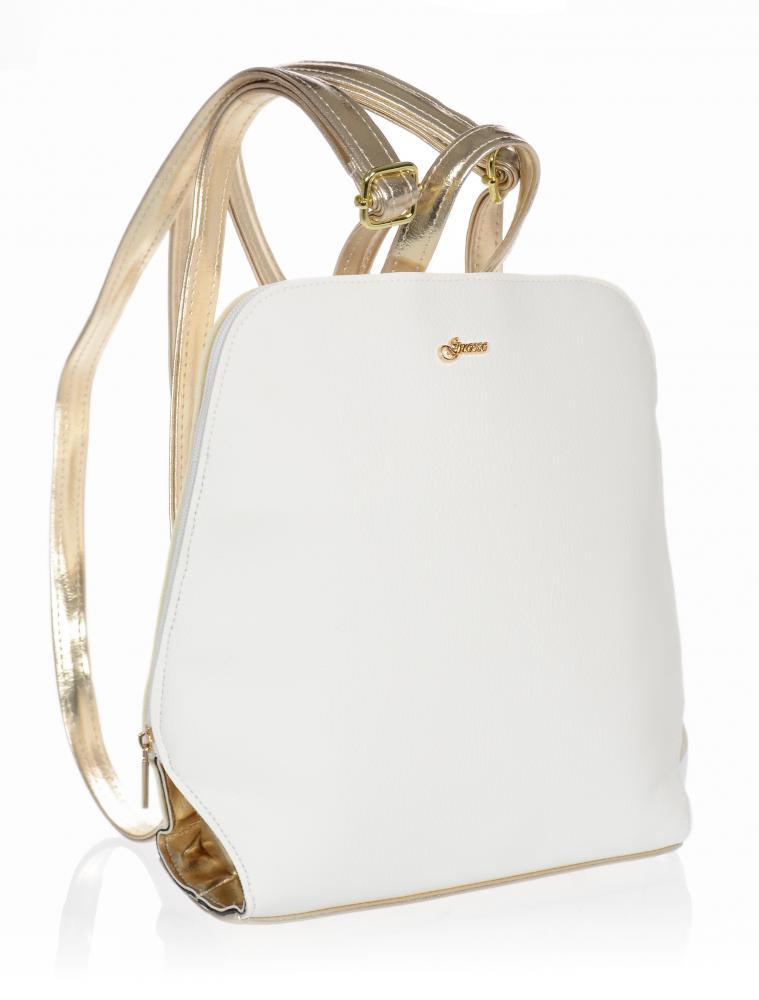 Elegantní dámský módní batůžek bílo-zlatý B04 GROSSO