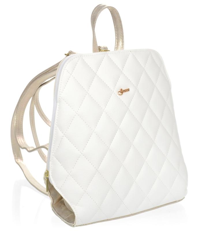 Elegantní dámský módní batůžek bílo-zlatý prošívaný vzor B04 GROSSO