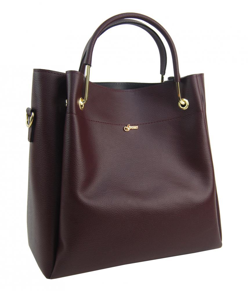 Elegantná dámska kabelka S728 bordová so zlatými doplňkami GROSSO
