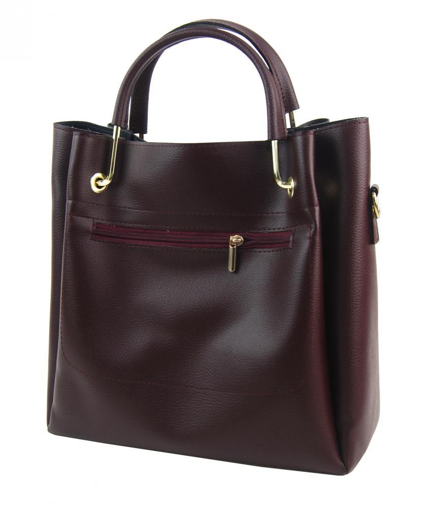 Elegantní dámská kabelka S728 bordó se zlatými doplňky GROSSO