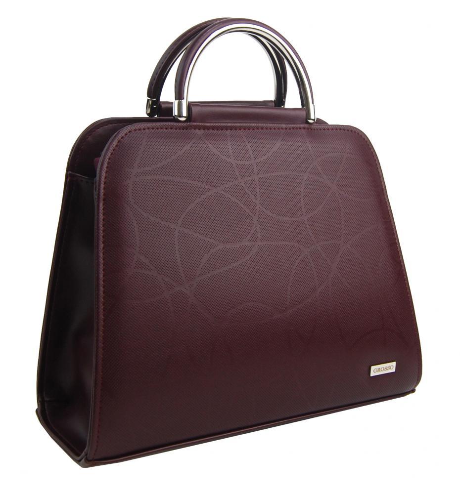 Luxusní bordová dámská kabelka s vlnkou S81 GROSSO