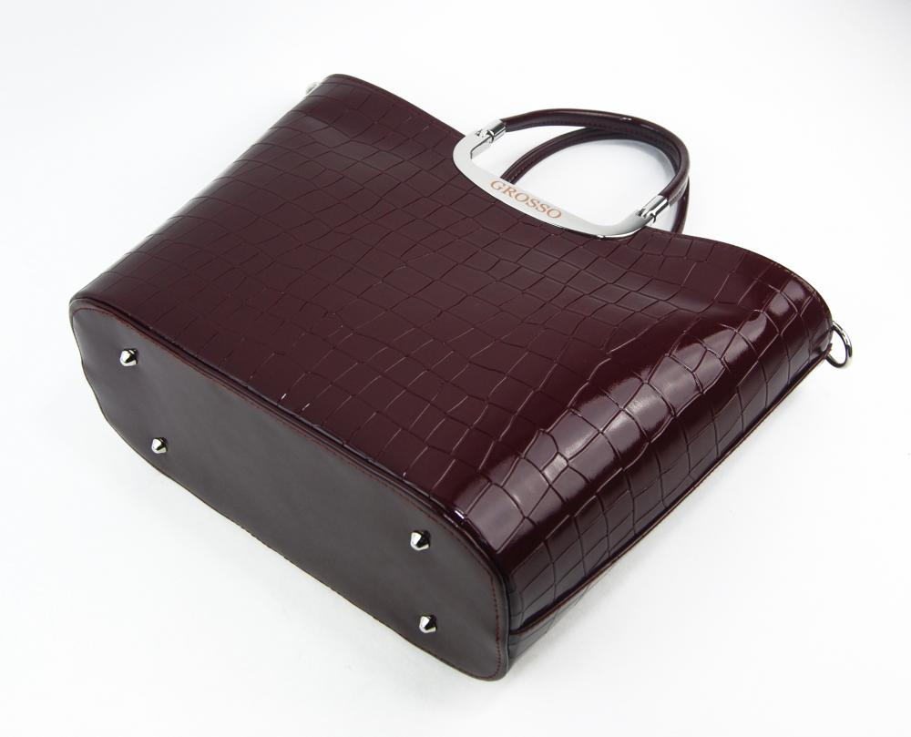 Elegantní lakovaná kroko kabelka do ruky S7 bordová GROSSO