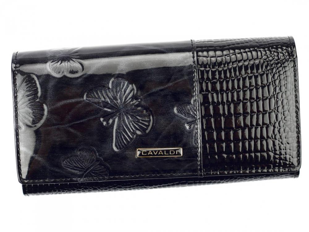 Kožená peňaženka dámska čierna v darčekovej krabičke Cavaldi