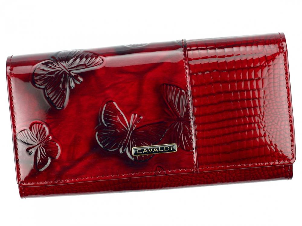 Kožená peňaženka dámska červená v darčekovej krabičke Cavaldi