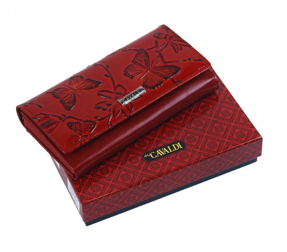 Cavaldi červená dámská kožená peněženka s motýli v dárkové krabičce