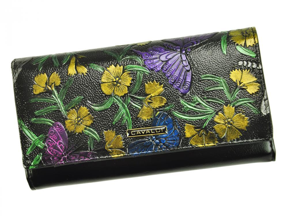 Cavaldi čierna dámska kožená peňaženka s kvetmi v darčekovej krabičke