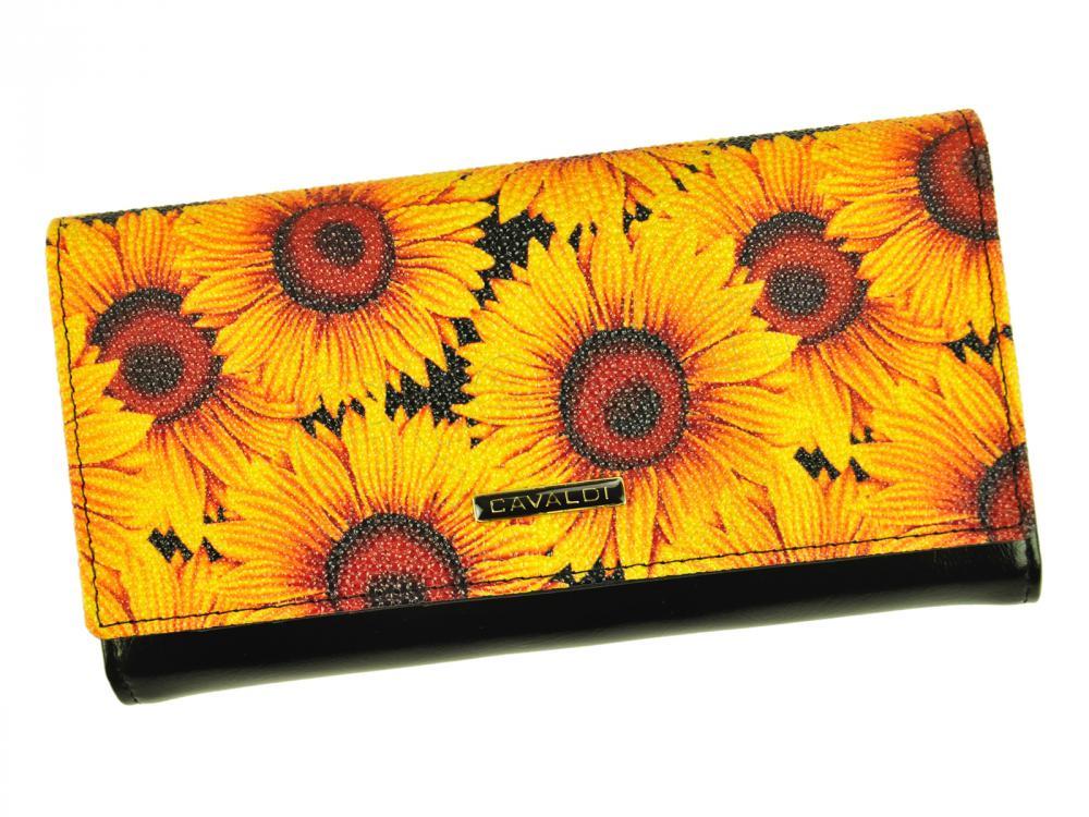 Cavaldi čierna dámska kožená peňaženka so slnečnicami v darčekovej krabičke