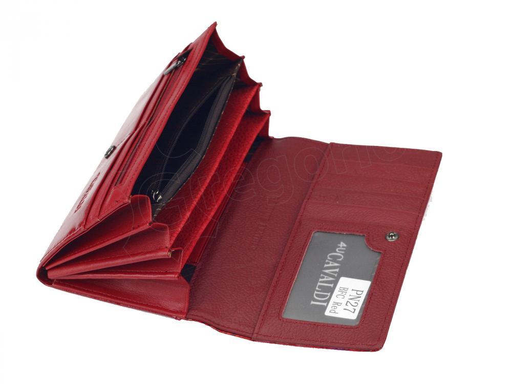 Cavaldi červená dámská kožená kroko peněženka v dárkové krabičce