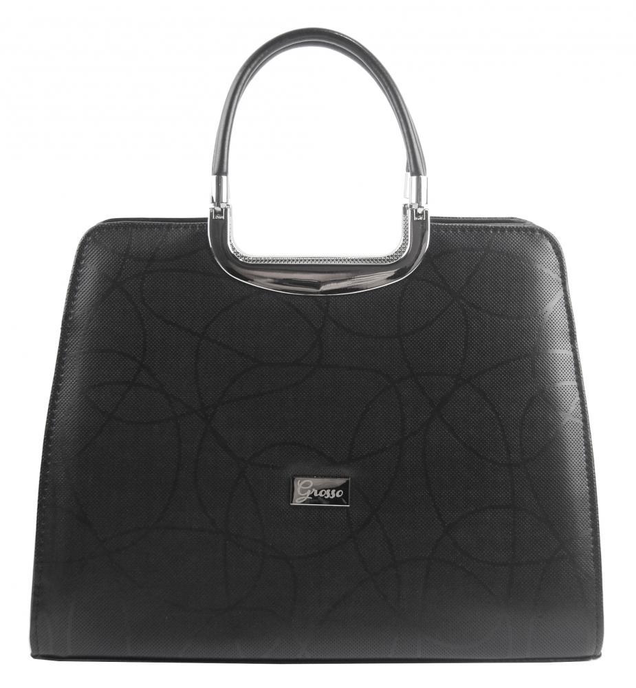 Elegantní černá kabelka s vlnkami S8 GROSSO