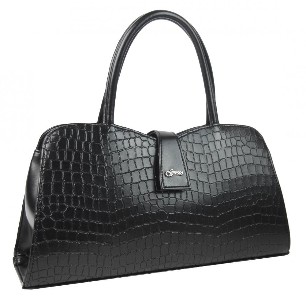 Atraktivní černá kroko dámská kabelka do ruky S283 GROSSO