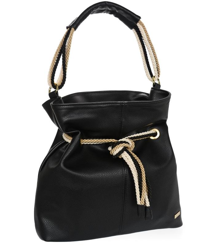 Černá měkká kabelka přes rameno s lanovými držadly S761 GROSSO