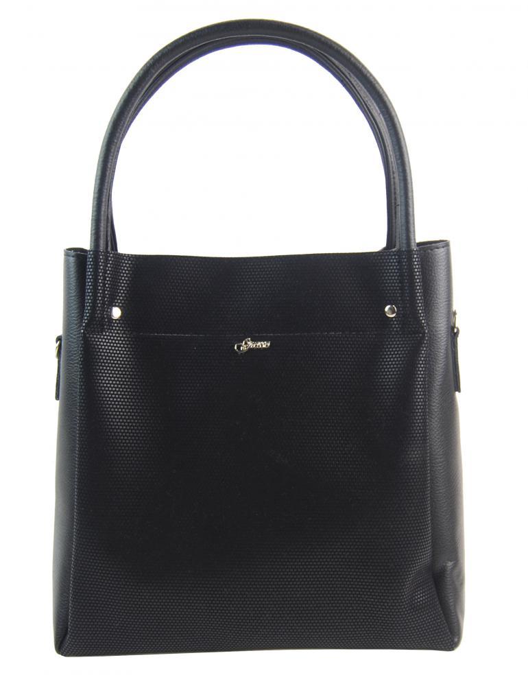 Černá dámská kabelka s rastrem S726 GROSSO