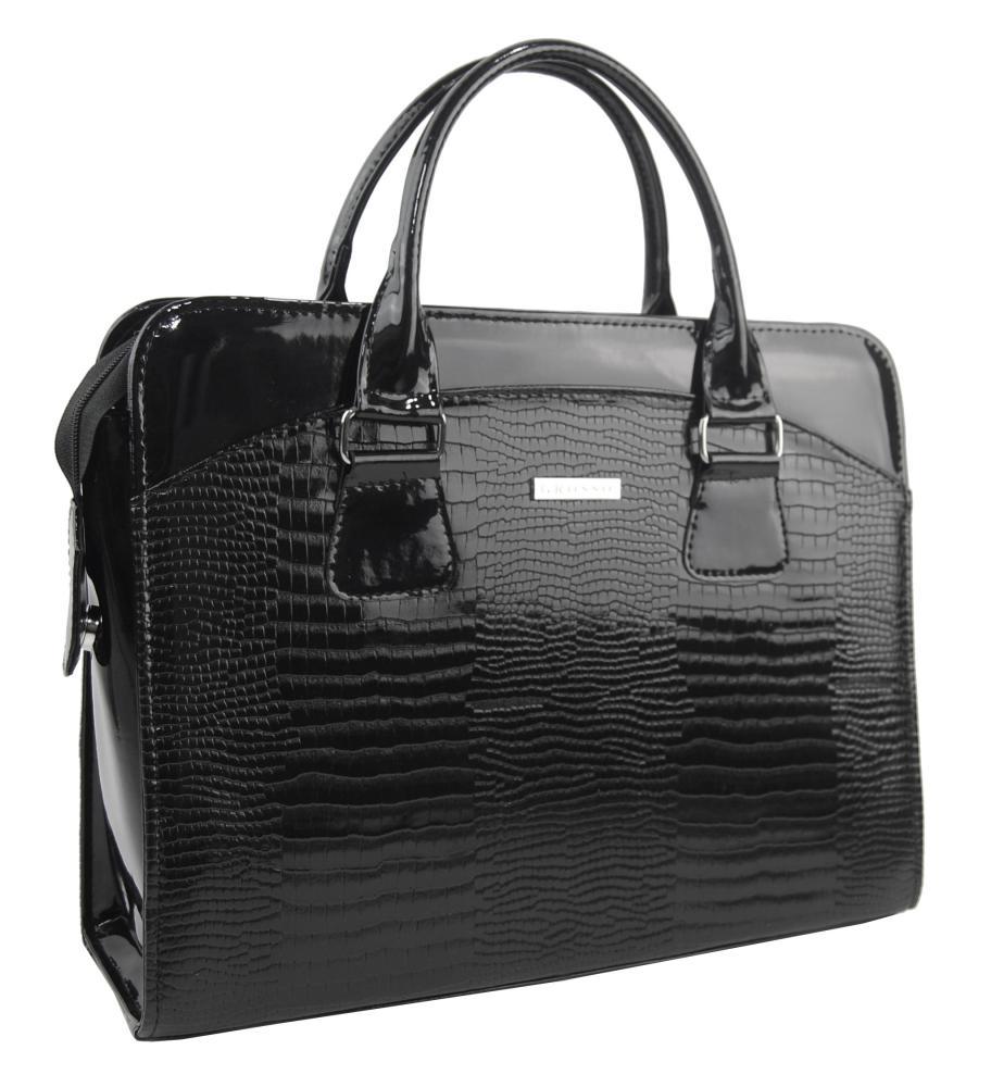 """Dámská luxusní taška na notebook černý lak nové kroko ST01 15.6"""" GROSSO"""