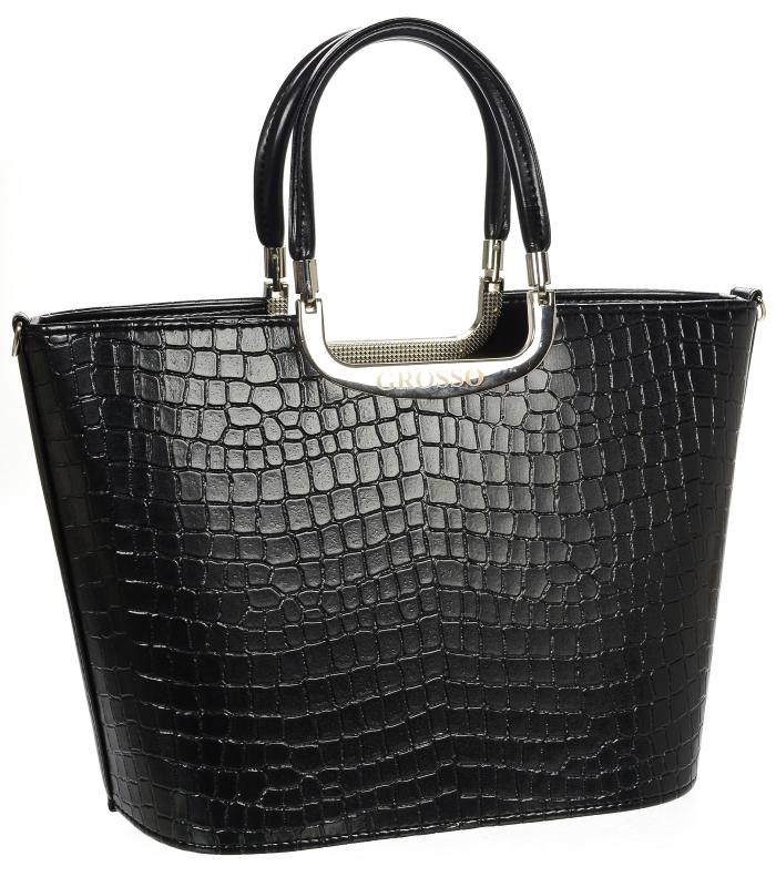 Luxusní kabelka černá matná S7 krokodýl GROSSO