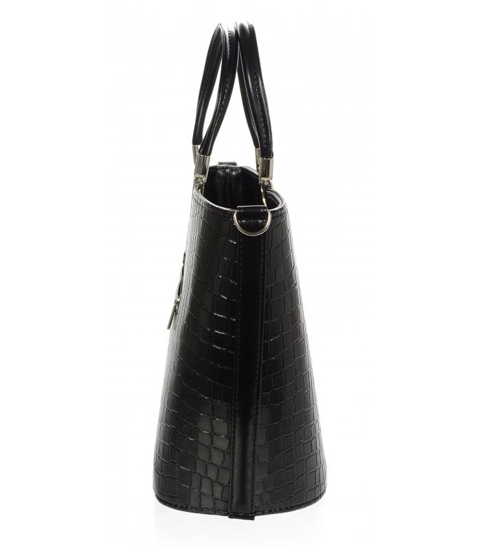 Luxusní kabelka černá lakovaná S7 krokodýl GROSSO