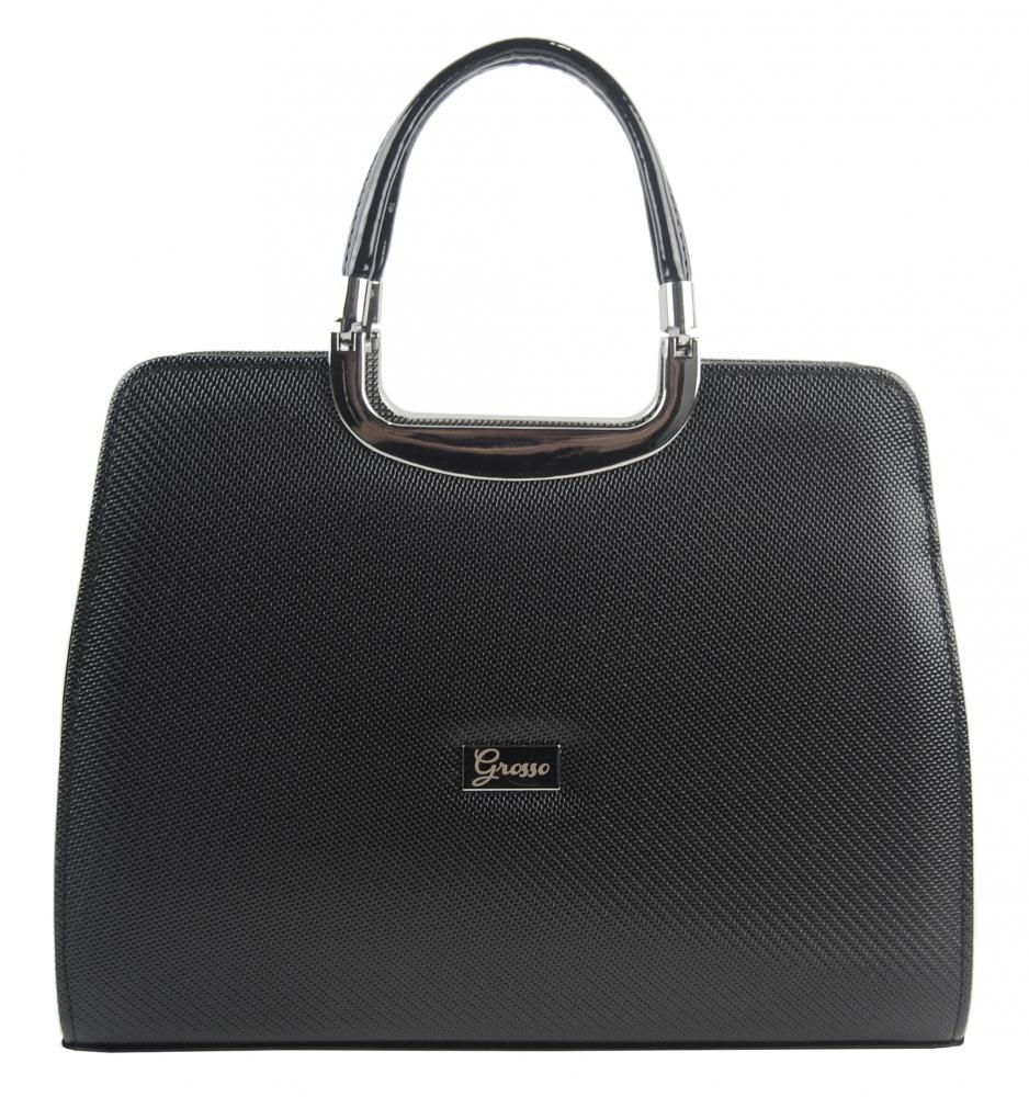 Elegantní černá kabelka s rastrem S8 GROSSO