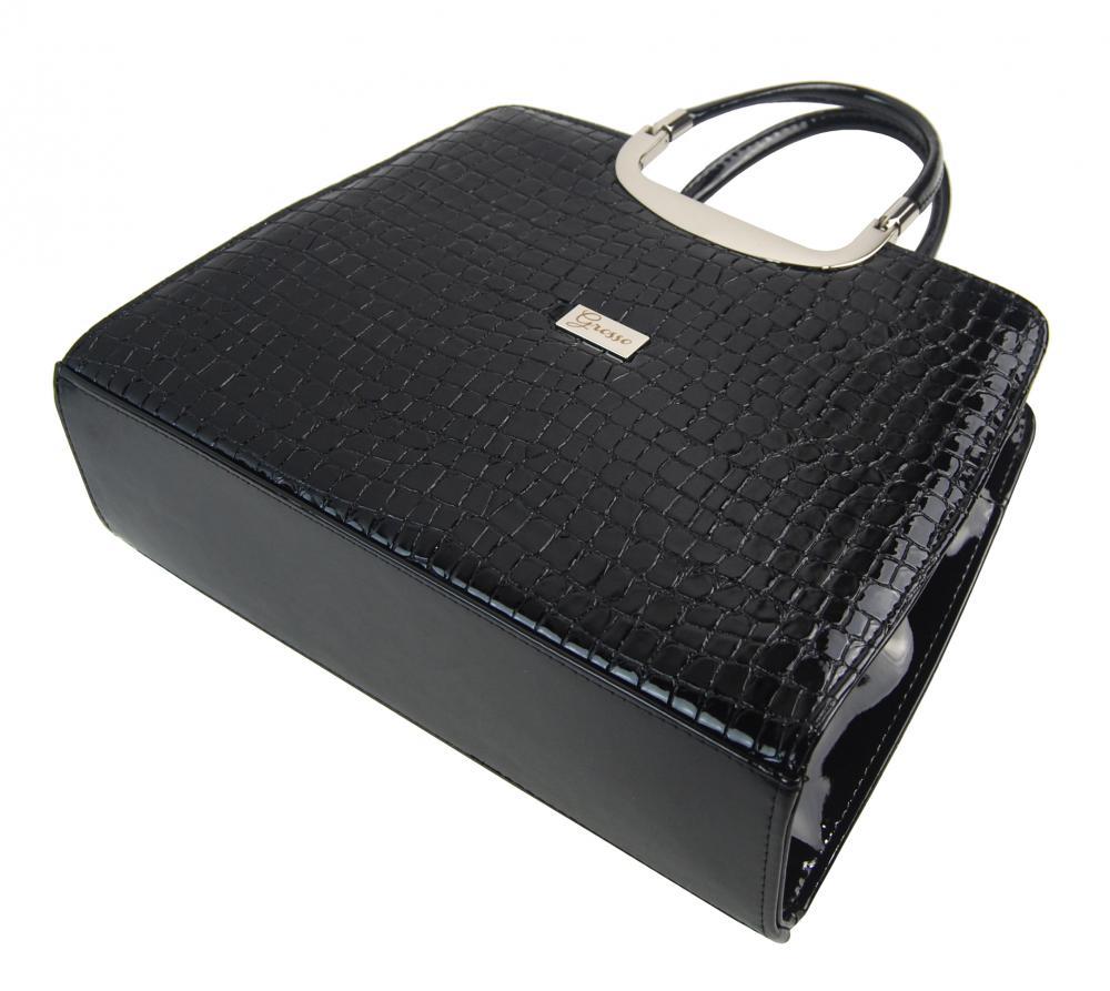 Elegantní černá lakovaná kroko kabelka S8 GROSSO