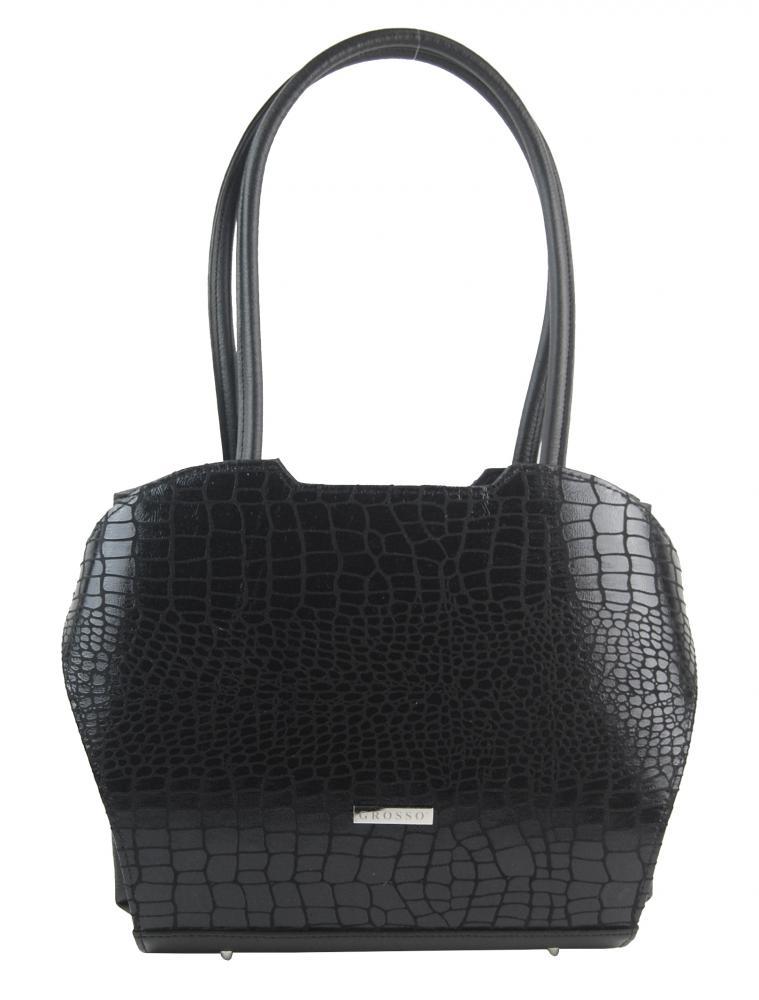 Čierna elegantná kroko kabelka cez rameno S698 GROSSO