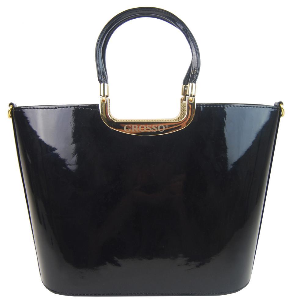 GROSSO Dámská kabelka do ruky černá lakovaná zlaté doplňky S7