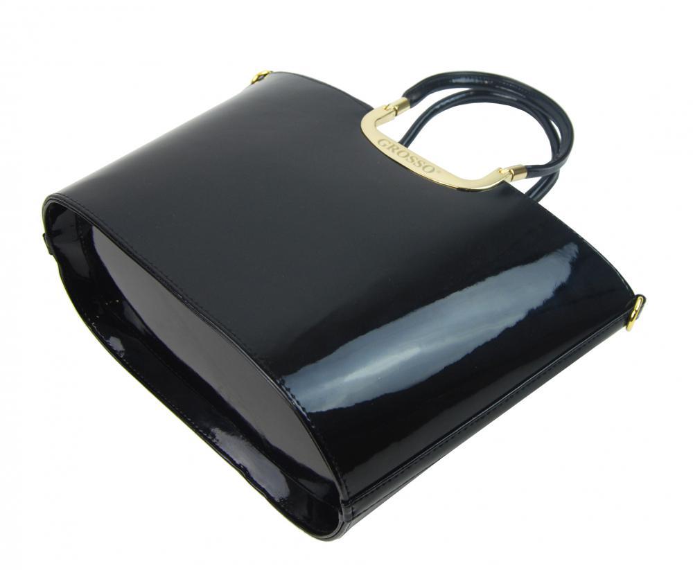 Luxusní kabelka černá lakovaná S7 zlaté kování GROSSO