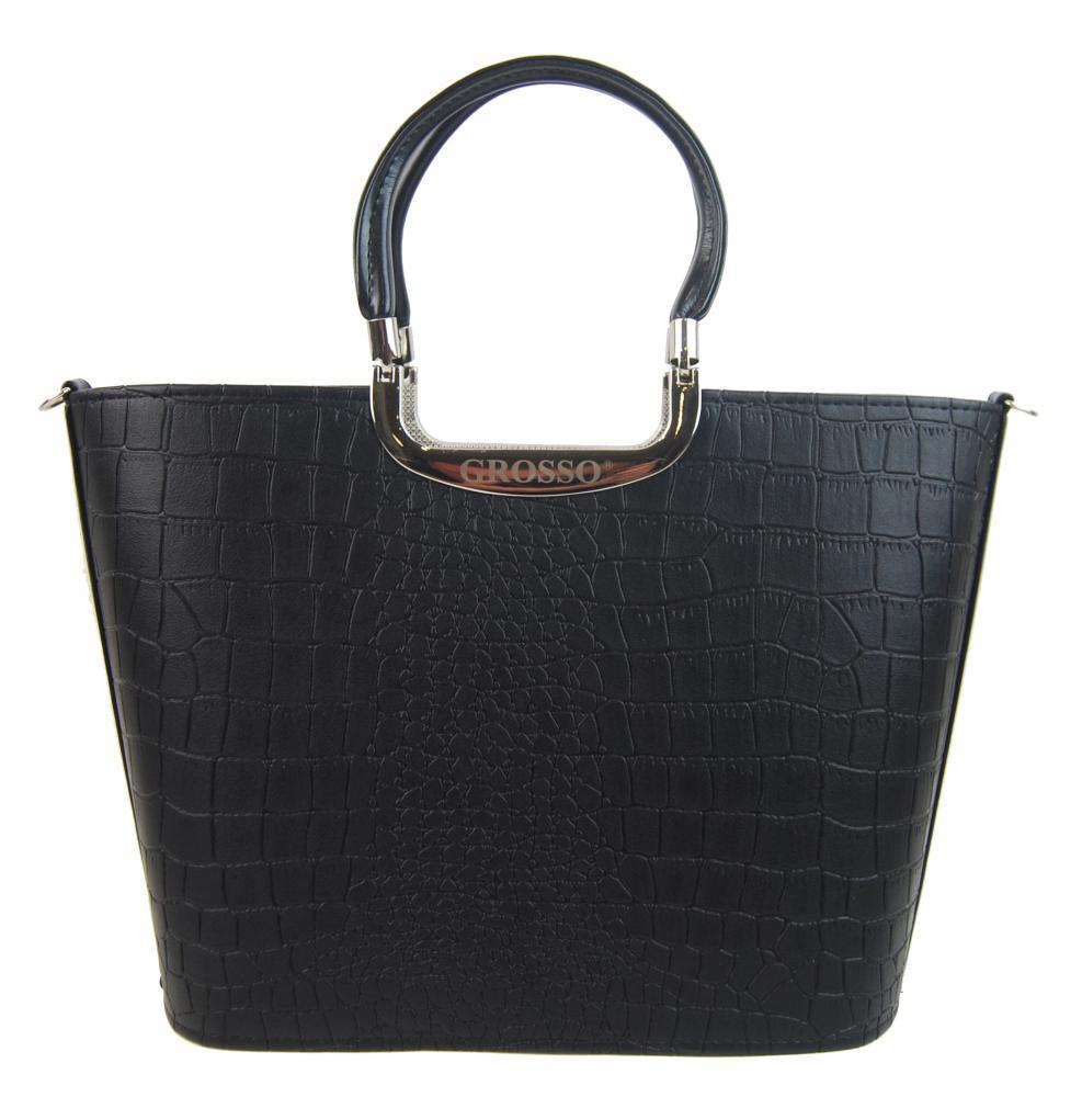Elegantní černá matná kroko kabelka do ruky S7 GROSSO