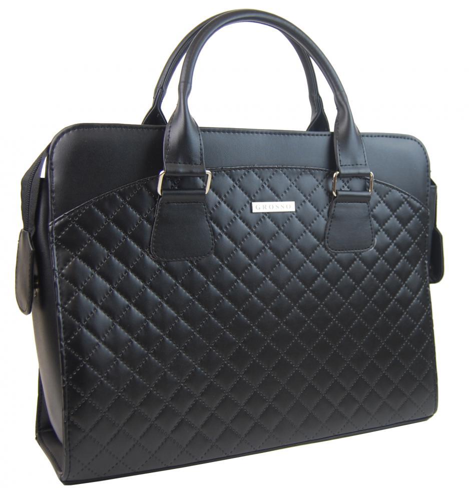 """Dámská černá matná taška na notebook v prošívaném designu ST01 15.6"""" GROSSO"""