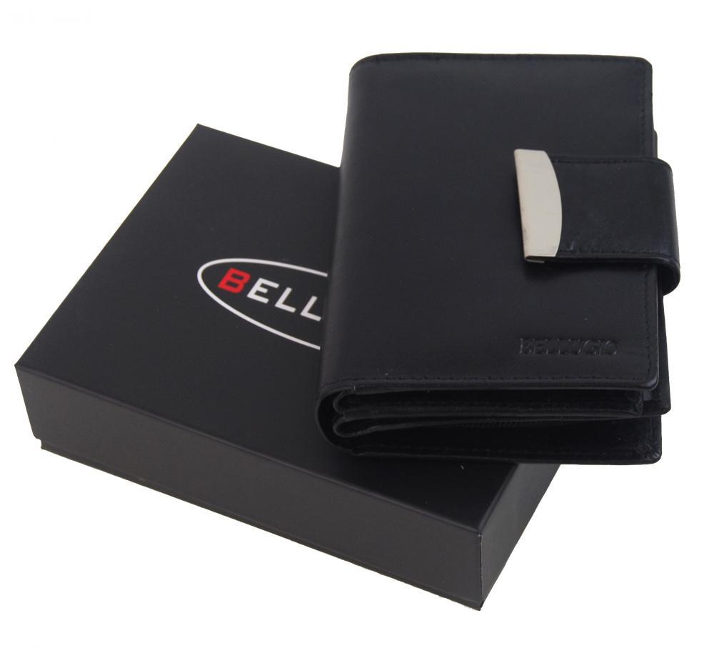 Bellugio čierna pánska kožená peňaženka v darčekovej krabičke