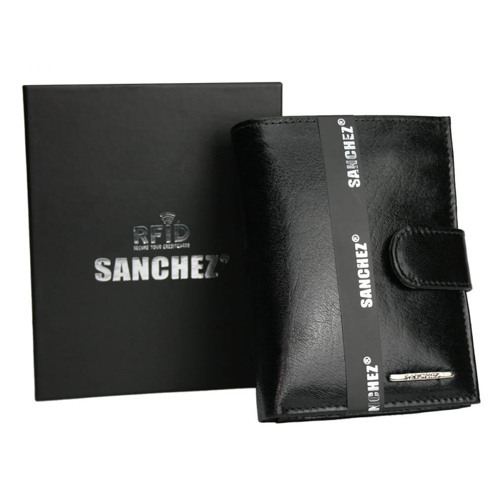 Sanchez čierna pánska RFID luxusná kožená peňaženka v darčekovej krabičke
