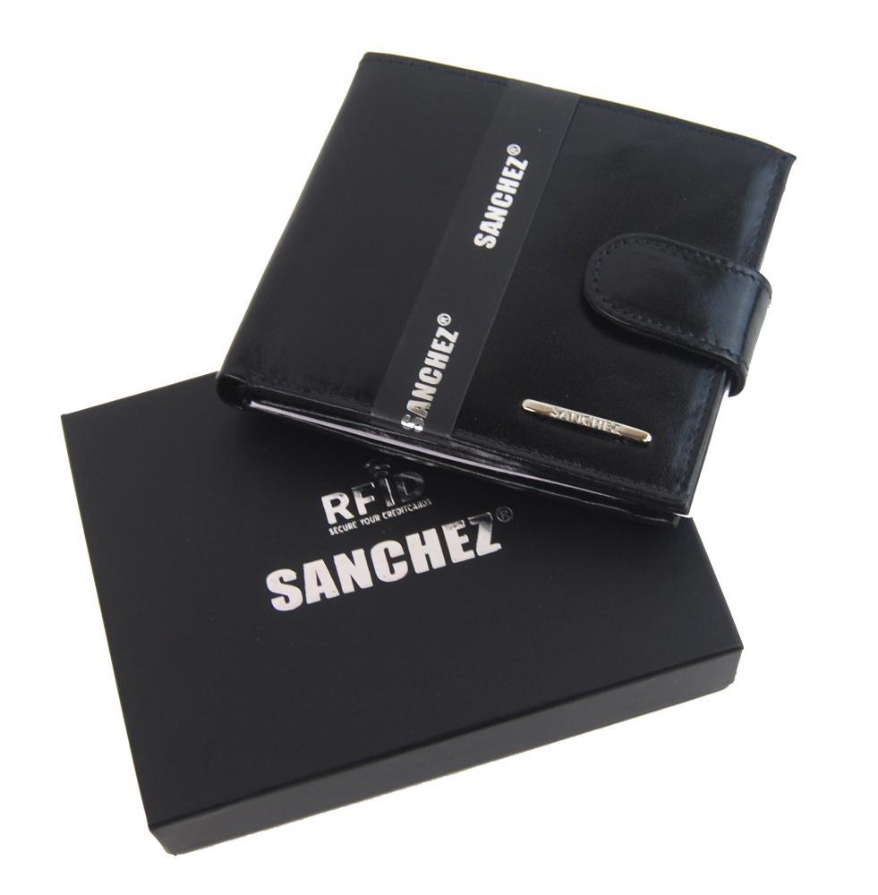 Sanchez čierna kožená pánska RFID luxusná peňaženka v darčekovej krabičke