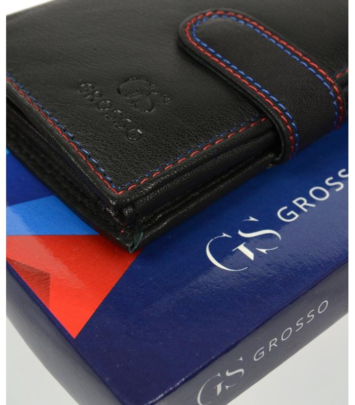 Černá pánská kožená peněženka se zápinkou v krabičce GROSSO